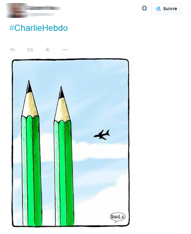 Réseaux sociaux: des dessins face à la barbarie de l'attentat contre Charlie Hebdo