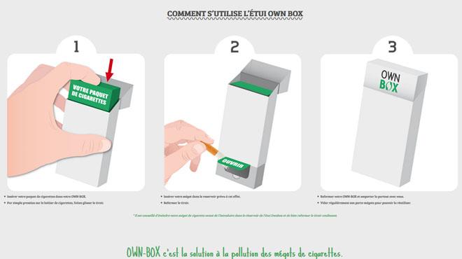 137000 mégots jetés chaque seconde sur Terre: Franck et Sabine ont inventé la Own Box, le paquet de cigarettes qui fait aussi cendrier