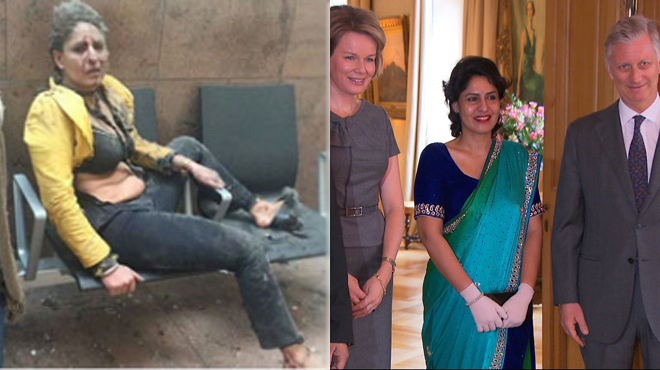 Nidhi, l'hôtesse de l'air dont la photo a fait le tour du monde après les attentats, reçue par le couple royal