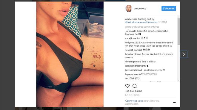 Amber Rose se filme dans un maillot très décolleté et ultra échancré (vidéo)