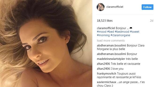 Clara Morgane, seins nus dans son lit, salue ses fans sur Instagram (photos)