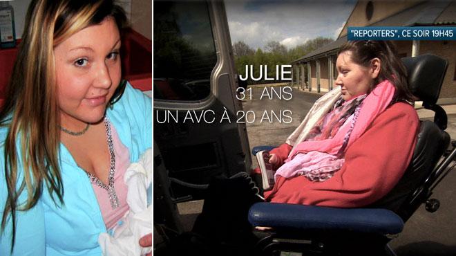 Julie rêvait de devenir infirmière, mais frappée par un AVC à 20 ans, elle se retrouve prisonnière de son corps