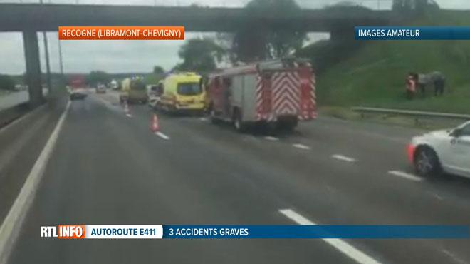 Journée noire sur l'E411: trois accidents, une personne décédée  dans une collision avec un véhicule transportant des chevaux à Recogne
