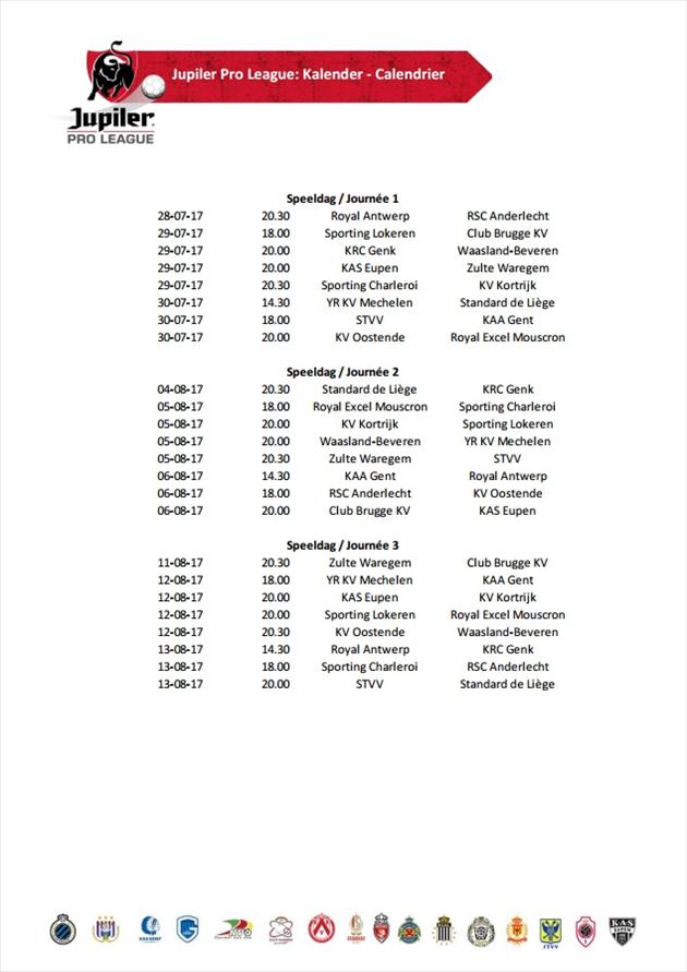 La calendrier complet de la Jupiler Pro League est connu ...