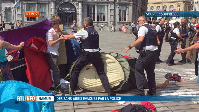 La police de Namur évacue des sans abris par la force en plein centre-ville