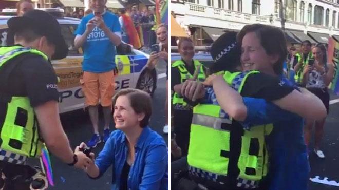 Elle demande la main de sa compagne policière pendant la Gay pride de Londres (vidéo)
