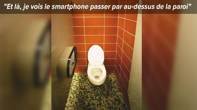 Voyeurisme dans les toilettes d'un Quick: soudain, Nathalie aperçoit à ses pieds un téléphone