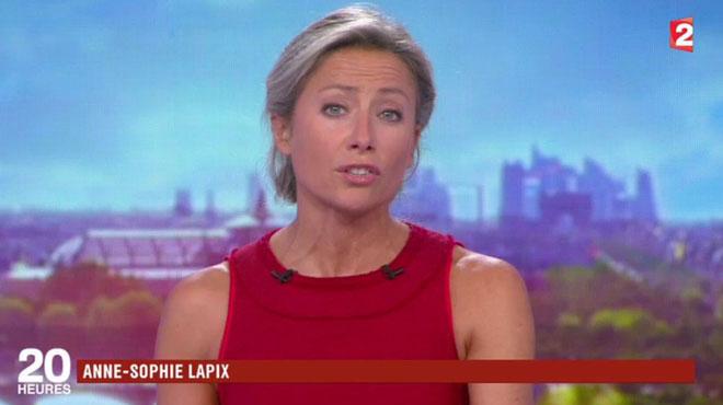 Anne-Sophie Lapix sobre, mais stressée et quelques erreurs de prononciation pour son premier 20H (vidéo)