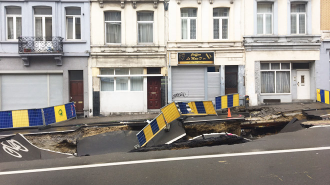 Voici les images du second effondrement de la chaussée de Louvain à Saint-Josse