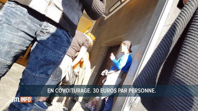 Notre équipe filme en caméra cachée des chauffeurs qui travaillent illégalement à la gare du Midi- Pour aller à Paris, c'est 30 euros 1