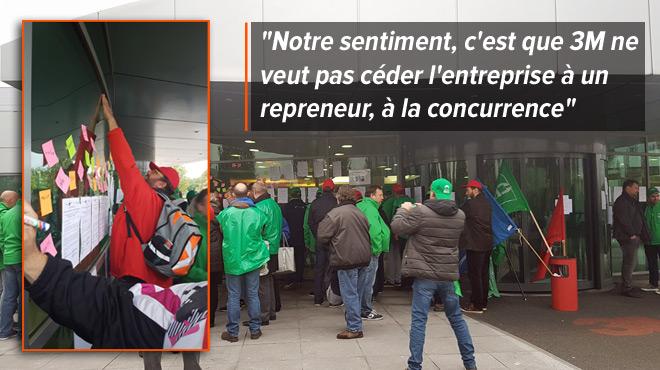 Les travailleurs de 3M Nivelles manifestent au siège de la multinationale américaine qui veut fermer leur usine: