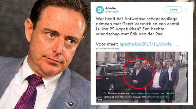 Bart De Wever et ses échevins filmés à l'anniversaire d'un promoteur immobilier: un parti dénonce