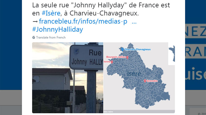 les panneaux de la seule rue johnny hallyday de france ont t d rob s rtl info. Black Bedroom Furniture Sets. Home Design Ideas