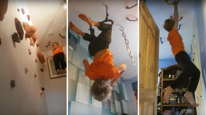 Pour leur fils, ils construisent un parcours d'escalade dans leur maison: il ne pose plus jamais le pied au sol!