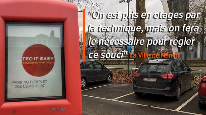 Aurore est abonnée à un parking de Namur mais ne peut y entrer car il affiche COMPLET: