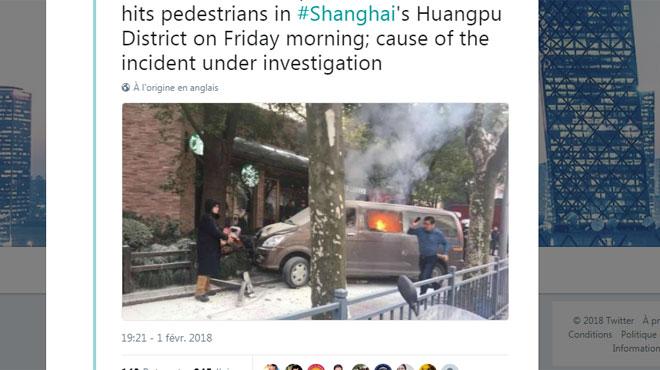 Shangai: une camionnette prend feu, fait une sortie de route, percute des piétons et fait 18 blessés