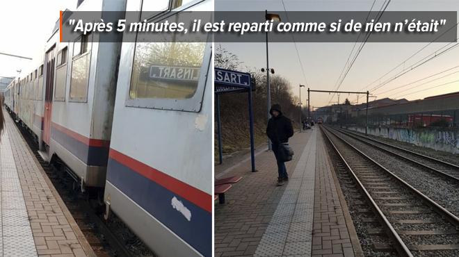 Un train ne parvient pas à ouvrir ses portes sur le quai de la gare de Lodelinsart: