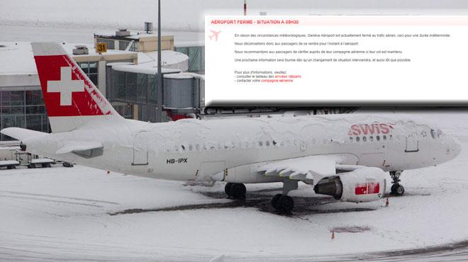 Chutes de neige: FERMETURE de l'aéroport de Genève