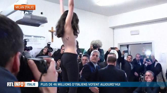 Une militante femen perturbe le vote de Berlusconi