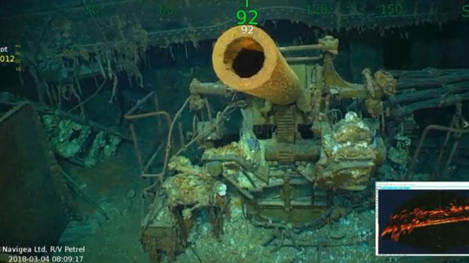 L'épave du porte-avion américain USS Lexington de la DEUXIÈME GUERRE MONDIALE retrouvée dans la mer de Corail