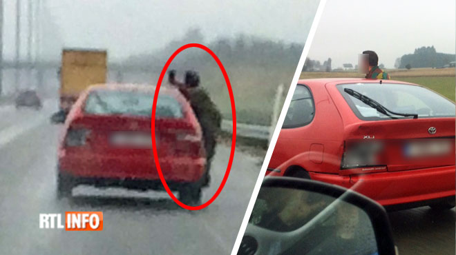 Scène incroyablement dangereuse sur la E411: un individu sort d'une voiture et se prend en photo