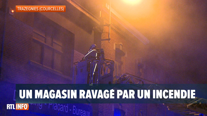 Important incendie dans un magasin à Trazegnies (photos)