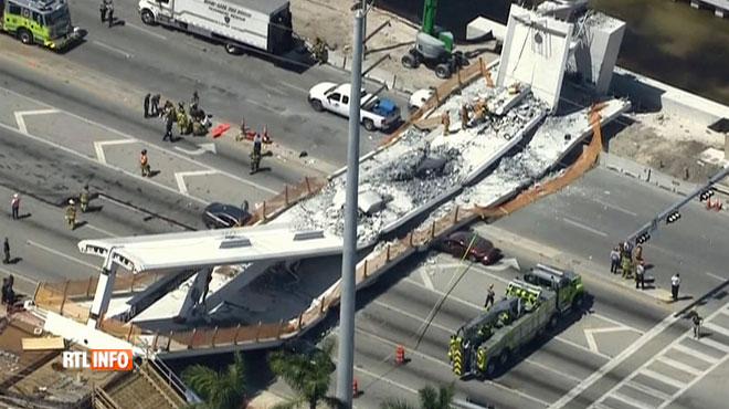 Un pont tout neuf s'effondre sur une autoroute à Miami: il y a au moins quatre morts