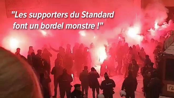 Des supporters du Standard allument des fumigènes dans les trains vers Bruxelles et dans la gare (vidéos)