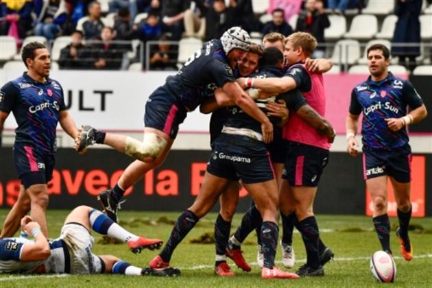La joie des joueurs du Stade Français après un essai contre Castres au stade Jean Bouin à Paris le 11 mars 2018- Christophe SIMON