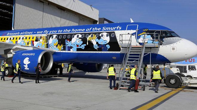 Voici Aerosmurf, le nouvel avion aux couleurs des Schtroumpfs de Brussels Airlines