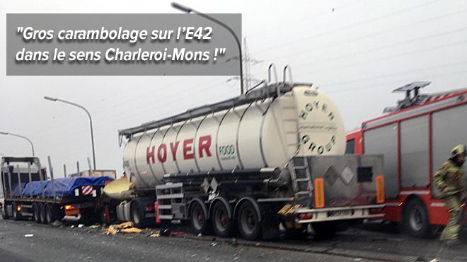 Accident sur l'E42 impliquant deux camions à hauteur de Manage: une heure de file en direction de Mons