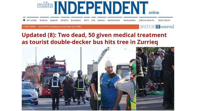 Grave accident de car à Malte: l'une des personnes décédées est Belge, 50 personnes ont été blessées