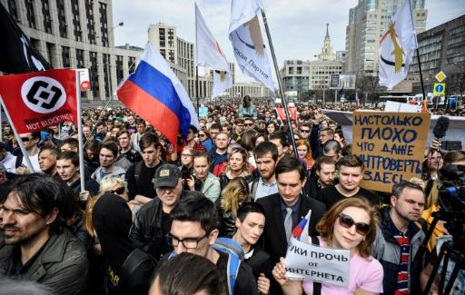A Moscou, des milliers de Russes dans la rue contre le blocage de Telegram