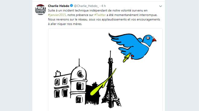 Charlie Hebdo fait son retour sur Twitter: voici le premier tweet depuis 2015