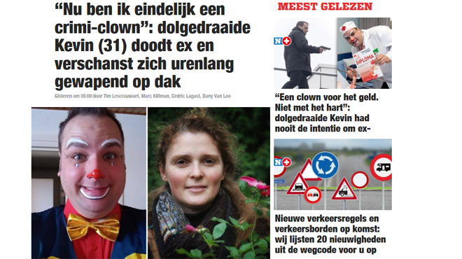 Bredene: Kevin, clown dans les hôpitaux, tue son ex-compagne et ligote ses enfants