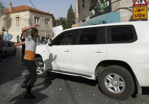 Cisjordanie: une délégation américaine visée par des jets d'oeufs de manifestants palestiniens