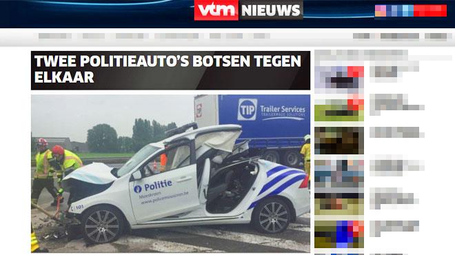 Des véhicules de police se percutent durant une course-poursuite près de Mouscron: 2 policiers gravement blessés