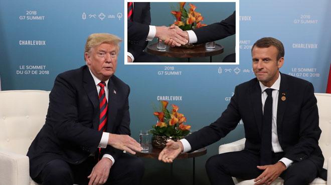 Jeux de mains, jeux de vilains? La poignée de mains Macron-Trump au G7 fait jaser (PHOTOS)