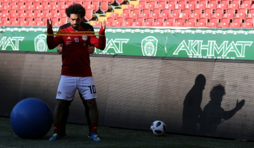 Mondial-2018: l'Egyptien Mohamed Salah participe à son 1er entraînement collectif