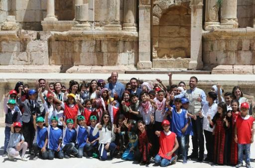 Jordanie: le prince William visite le temple romain de Jerash