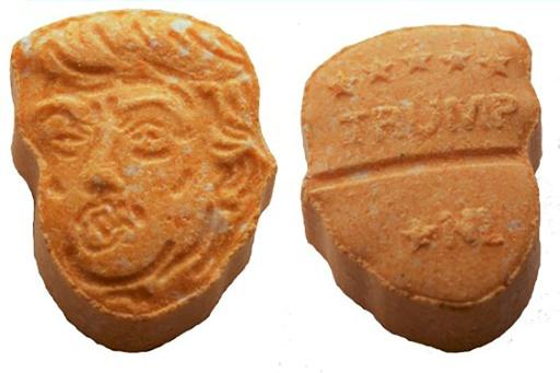 Découverte de cachets d'ecstasy orange à l'effigie de Donald Trump