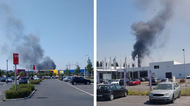 Incendie en cours dans un entrepôt à Cuesmes