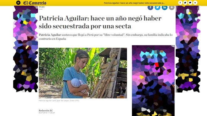 Patricia, une Espagnole de 19 ans recluse dans une secte apocalyptique au Pérou, secourue, avec son fils nouveau-né, par la police