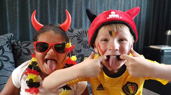 Supporters des Diables Rouges: Tiago et Nora supportent Lukaku et Courtois