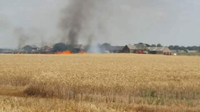 Beaumont: important incendie dans un champ dû à la sécheresse
