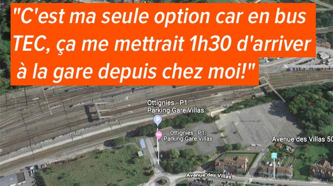Le parking SNCB de la gare d'Ottignies (1500 places) est COMPLET: Aurélie est sur liste d'attente depuis de longs mois
