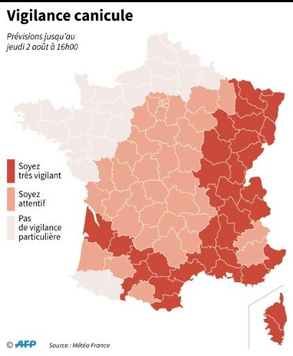 Canicule: 34 départements en vigilance orange dans l'Est et le Sud