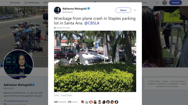 Un avion se crashe sur un parking en Californie, faisant 5 morts