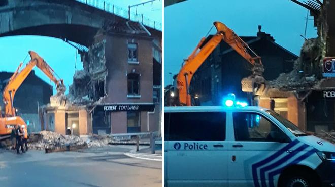 Incendie à Sclessin: la façade d'une maison s'effondre
