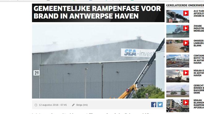 Incendie dans un entrepôt de sulfure de nickel à Anvers: le plan d'urgence a été levé